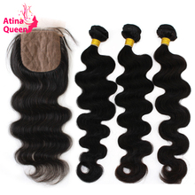Atina Queen Hair Products Silk Base Closure With Bundles Peruvian Body Wave Silk Top Lace Closure Remy Human Hair Weave 4pcs lot(China)