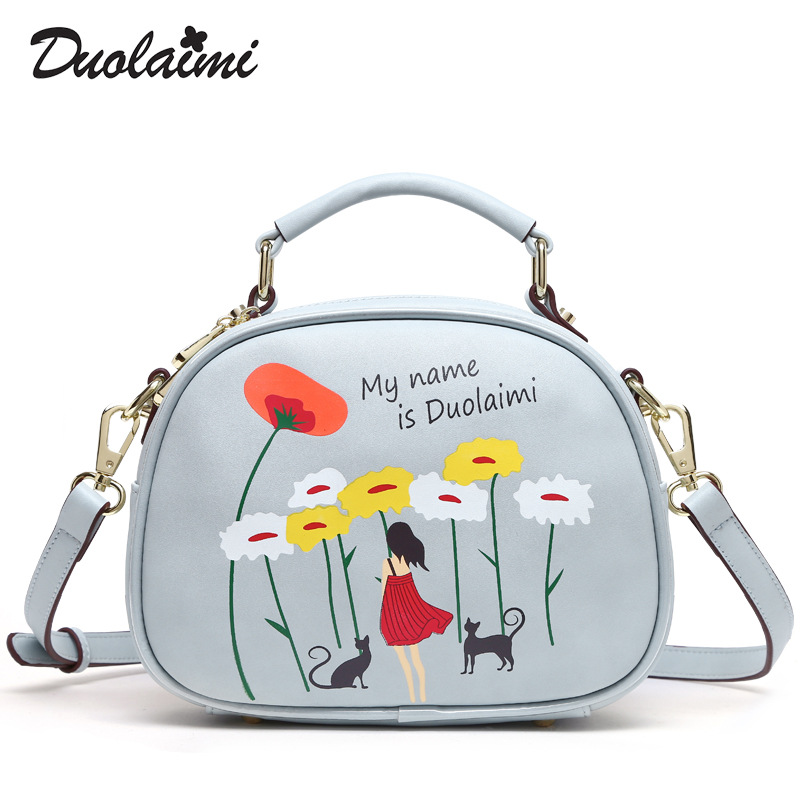 DUOLAIMI Fashion 2017 Small Flower Bag Women Fresh Printing Messenger Bags Female Handbags Shoulder Flap Ladies Top-handle Bags<br>