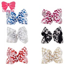 "6PCS/LOT 8"" Glitter Large Sparkly Bow Chevron Ribbon Hair Bow Barrette Clip Party Handmde Boutique Big Hair Clips"