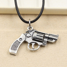 New Fashion Tibetan Silver Pendant pistol handgun Necklace Choker Charm Black Leather Cord Factory Price Handmade jewelry(China)