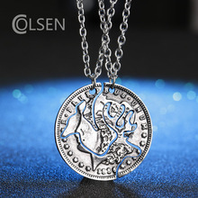 Best Friends Necklace For 2 BBF Friendship Gift Couples Pendant Coin Puzzle Necklace Retro Deer Necklace For Men And Women