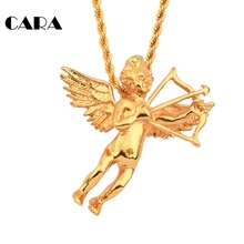 CARA new Gold-color Cross Angle Wing Cupid arrow Necklace Pendant charm for women men gift 75mm long twist chain CAGF0121