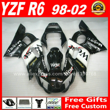 WEST scheme Fairings fit for YAMAHA YZF R6 1998 1999 2000 2001 2002 ABS plastic parts  98 99 00 01 02 fairing kit P1I8