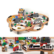 92pcs/set Wooden Railway Train Set Stanard Electrionic Train Head Safety Water Piant Tomas Track Toys for Kids Birthday Gift