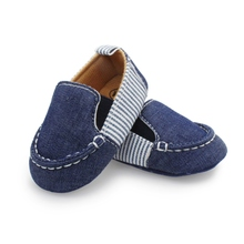 Casual Toddlers Boys Girls First Walkers Denim Striped Shoes Infant Baby Shoes 0-12M