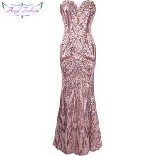 Angel-fashions vestido de festa Vintage 1920S Flapper Sequined Mermaid Long Evening Dress Abendkleid Pink 212(China)
