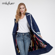 Milyfuer Long Denim Jacket Women Real Mink Fur Inside Solid Full Sleeve Detachable Zipper Spring Autumn Casual Denim Coat Jacket(China)