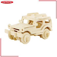 wooden 3D jigsaw puzzle toys,Mini car JEEP model DIY toys for children magic DIY