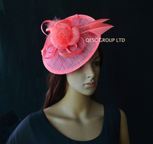 NEW Coral pink Sinamay fascinator hat with arrow feather and sinamay loops for kentucky derby ,wedding party.FREE SHIPPING(China)