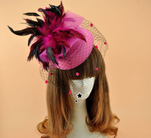 Retro Veil Hairpin Net Headdress Feather Head Flower Stage Performance Small Hat Stylish(China)