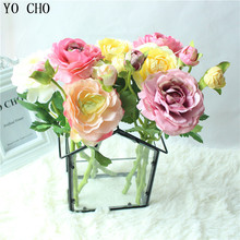 Buy YO CHO Delicate 2 Heads Peony Artificial Flower Green Leaves Tea Rose Valentines Day Gift Silk Wedding Home Decoration Flower for $8.69 in AliExpress store