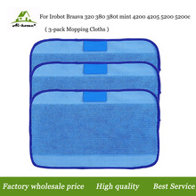 Microfiber 3-Pack Pro-Clean Mopping Cloths for Braava 320 Floor Mopping Robot for irobot Braava 380 380t Minit 4200 5200 5200C