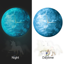 Funlife(TM) Glow in the Dark Earth Wall Clock, Funlife New Arrival Glowing in the Dark Earth Wall Clock with Unicorn Pendulum Lu