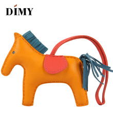 DIMY HANDMADE genuine Lamb Leather pony Horse Bag Charms Pendant wholesale dropshopping price Christmas charms 13X10cm(China)