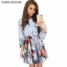 YJSFG HOUSE Women Vintage Long Sleeve Evening Party Dresses Casual Sexy Ladies O Neck Flower Print Office Dress Long Sleeve Robe