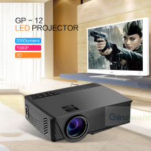 GP - 12 LED Projector 2000LM Beamer 1080P Full HD Home Cinema Media Player Built-in Speaker Support 3.5mm Audio HDMI SD Card USB
