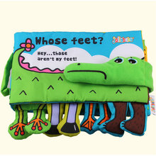 Infant Activity Book Cartoon Animal crocodile Soft Baby Educational Toy Cloth Book Plush Intelligence Developing Toy KF160(China)