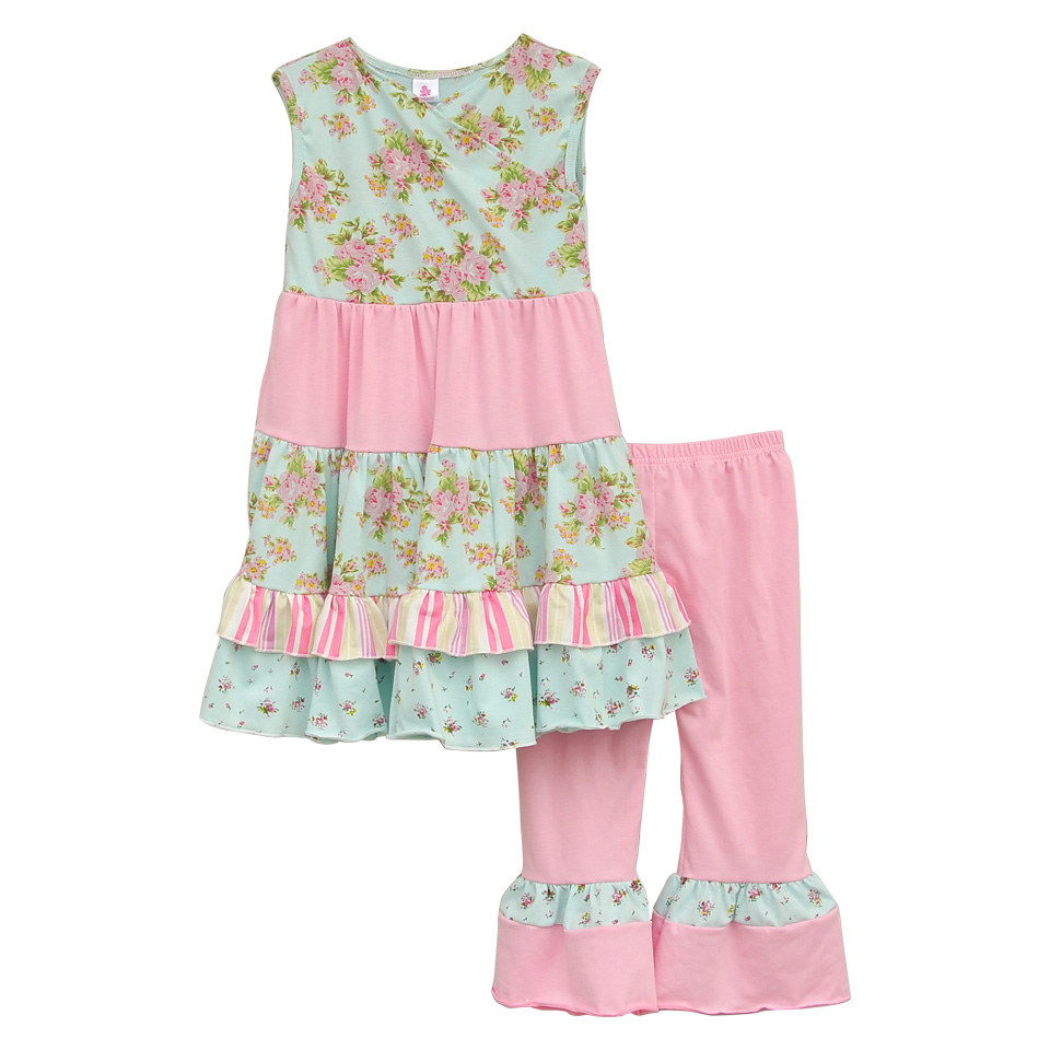Persnickety Remake Girls Floral Clothing Sleeveless Dress Top Pink Ruffle Pants Children Knitted Cotton Summer Outfits S051<br>