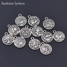 Buy fashion lychee 12pcs Antique Silver Twelve Astrology Charms Zodiac Star Sign Round Pendant Necklace DIY Jewelry Making for $1.25 in AliExpress store