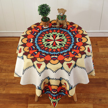 Round European Style Bohemian Linen Tablecloth Table Cloth Table Cover Home Decor Rose Flower Butterfly 1PC