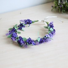 2016 New Style Flower Garland Crown Lavender Headband Hair Band Bridal Festival Holiday Headband(China)
