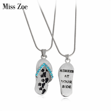Miss Zoe ALWAYS AT YOUR SIDE flip flop Paw Claw Footprint Pendant Necklace Pet Simple Jewelry Special Gift For Dog Adopt