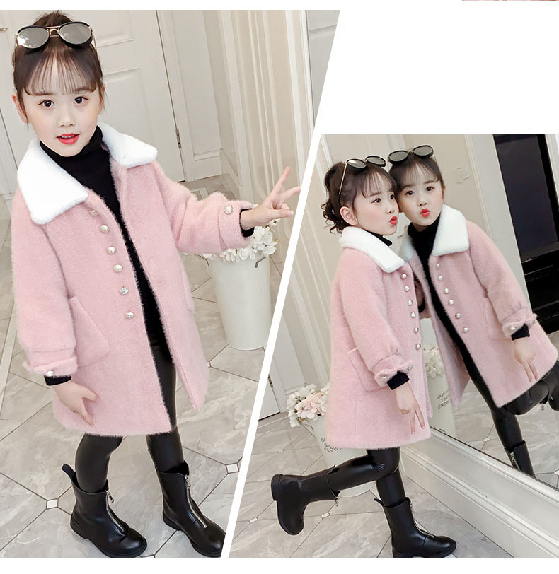 Pink Yellow Children Woolen Trench Coats For Kids Fashion 2019 Winter Long Fur Turn Collar Jackets Girls Outerwear Tops Clothing (9).jpg
