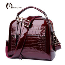MORESHINE brand women Real Patent leather handbags Crocodile Fashion design Shell bag Female luxurious shoulder bags tote bolsas