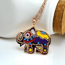 Rose gold color color elephant necklaces & pendants, vintage long necklace women indian stainless steel jewelry collares mujer(China)