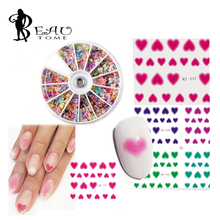 Beautome 1 PC Sweet Blush Rouge Love Heart Design Nail Art Stickers Water Transfer Decal + 1 X Pearls Fimo Rhinestone Wheel Kit