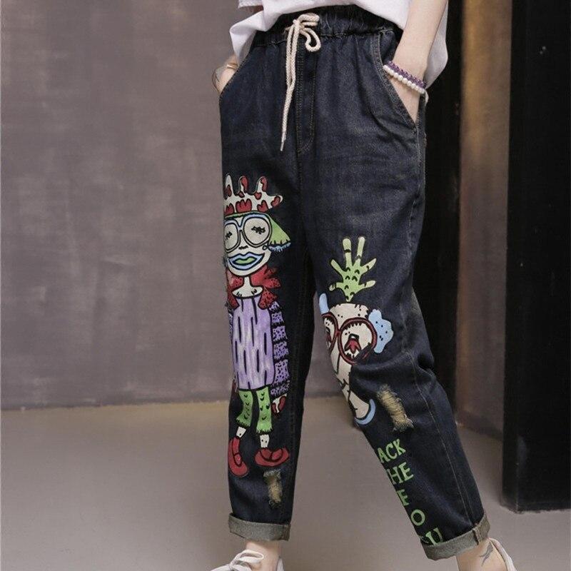 Spring Funny Pattern Jeans Big Size Elastic Waist Jeans Women Haren Denim Baggy Pants Womens Cartoon Letter Printed TrousersÎäåæäà è àêñåññóàðû<br><br>