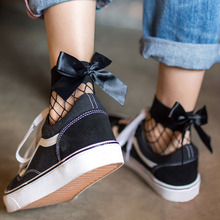 2pair/lot cute bow decorating nylon sexy fishnet socks women youth girl over ankle sock mesh sokken for happy summer(China)