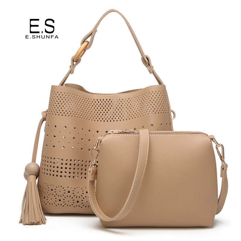 New Fashion Shoulder Bag With Small Bag 2017 Hollow Out Bucket Bags Tassel PU Leather Shoulder Bags For Women Two Piece Set<br>