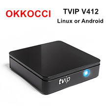 Original TVIP412 mini Set Top Box of Linux or Android 4.4 Double System support H.265 1920x1080 quad core tvip 412 PK MAG254