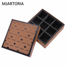 MJARTORIA 1PC Jewelry Display Light Brown Chocolate Box Square Gift Box 9 Slots Wedding Candy Packaging Gilding Heart Pattern
