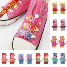 Wholesale Novelty 8style shoelace accessorie shoe buckle silicone laces Kids party favors/gifts 100pcs cute Cartoon Pink pig