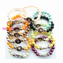 wholesale Handwork mix color peral Elastic Snaps Button Bracelet Ginger Snaps jewelry 12 a lot per color 1 pcs