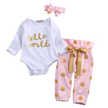 Infant Toddler Newborn Baby Girls HELLO WORLD Casual Romper Tops+Pants 2PCS Full Sleeve Clothes Outfit