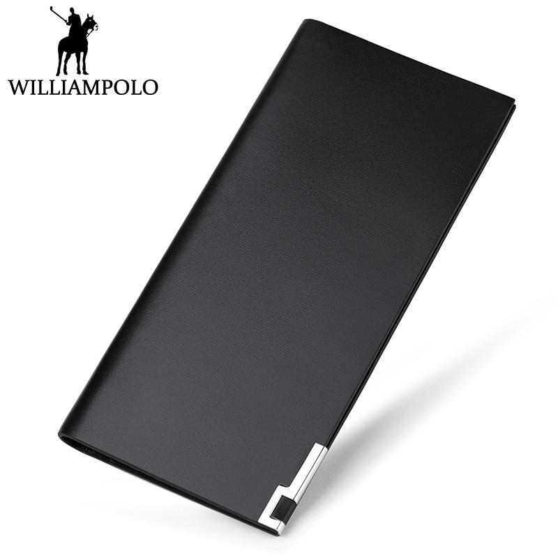 WILLIAMPOLO Minimalist Long Clutch Wallet Men Genuine Leather Fashion Ultra Thin Purse 13 Card Holder Boyfriend Gift Love Wallet<br>