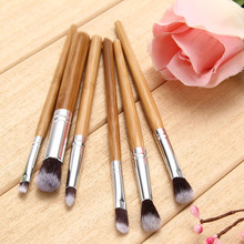 6 Pcs Professional Bamboo Handle Eye Brushes Makeup Brushes Cosmetics Makeup Brush Set Hairbrush
