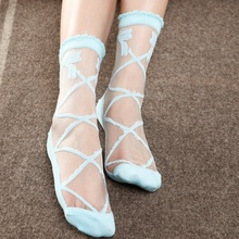 Summer Bowknot Sheer Mesh Bow Knit Frill Trim Transparent Crystal Lace Ankle Socks for Charming Lady Girl
