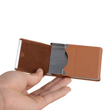 Fashion Men Credit Card Holder Case Large Capacity Portable Pocket Name Bus ID Card Case Holder Purse Box For Women Men Gift