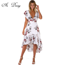 As Daisy V Neck Ruffle Short Sleeve Women Long Dress Summer 2017 Boho Print Beach Dresses Long Maxi Dress Floral Vestidos DR1773(China)