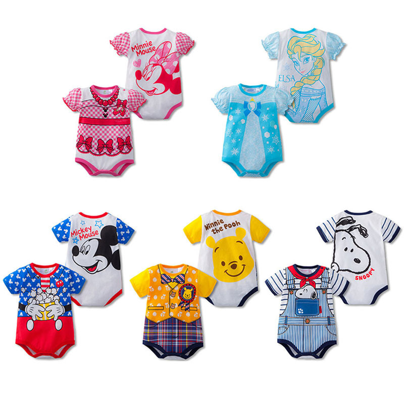 Baby Rompers Mickey Minnie Short Sleeve Cotton Baby Infant Cartoon Animal 6M-24M Baby Clothes Clothing Set Fashion Baby Rompers(China)