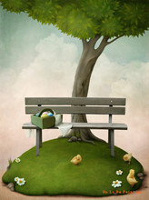 free shipping modern green tree chick bench scenery oil painting canvas painting on canvas kid room wall art decoration pictures