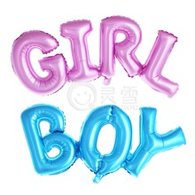 Big Size 10pcs/lot Connected Letter Pink Girl Blue Boy Foil Balloon Baby Birthday Party Decor Baby Shower Helium Globos