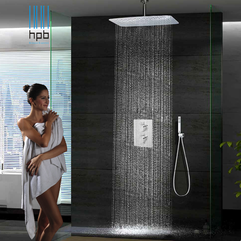 55cmx35cm Bathroom Wall Shower Set Square Chuveiro top spray booster thermostatic Hot Cold water Rain Shower System