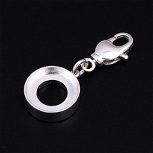 925 silver plated charm holder fits DIY jewel pops imitation DIY Charm Holder With Lobster Claw