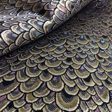 1Yard 91*150cm,Metallic Peacock Jacquard Brocade Fabric,Brand Fabric,Shining Tissue for Dress,Sewing Patchwork Material Tecido(China)