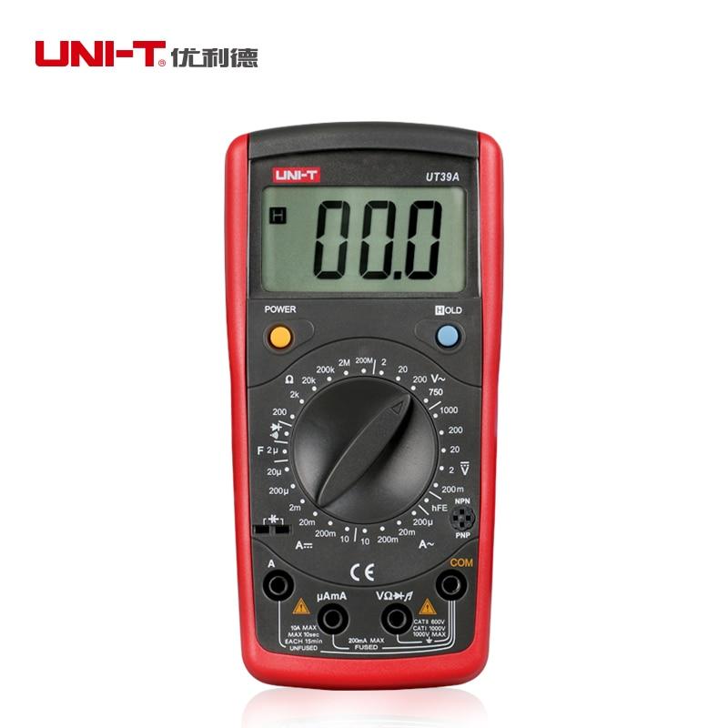 UNI-T UT39A General Digital Multimeters Handheld AC/DC Voltmeter Ammeter Resistance Capacitance Tester<br><br>Aliexpress